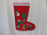 Green & White Decorated Christmas Stocking