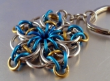 Blue and Gold Large Celtic Star Key Chain