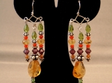 Silver - Multi color earrings