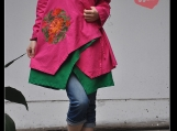 Ethnic Cloak style loose linen embroidered shirt/dark green