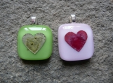 Hearts, Fused Glass Pendants