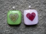 Hearts, Fused Glass Pendants