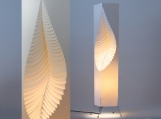 Leaf - MooDooNano paper design lamp on wire stand