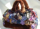 Silk Rose Covered Fur Handbag