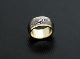 Genuine Stainless Damascus Steel 18K Yellow Gold Women Ring