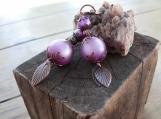 Sale!! Vintage Style Lavendar Leaf Leverback Earrings