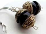 Handmade Beaded Earrings Vintage Etched Carved Black Gold