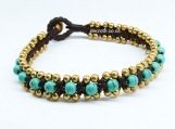 Turqouise bead.Hand made bracelet waxed cotton cord.