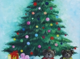 """Christmas Tree with Gifts"" Acrylic Painting on Canvas"