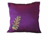 Purple Silk Cushion Cover, Peacock Pride