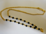 Slim Link design Goldpolished BALCK Crystal Chain Necklace