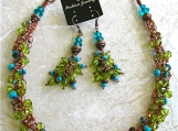 Bohemian Turquoise / Aqua Copper Crochet Necklace / Earrings set