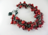 "Red beaded cha cha bracelet  "" Candy Apple"""