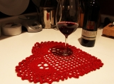 "Valentine's Day Home Decor - Crocheted Table Cover ""Red Heart"""