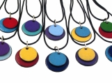 Enamelled Copper Pendant- Stacked Circles (doubles)