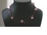 Rose Quartz and Copper Beaded Choker Necklace