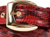 Snake-Print Red Leather Belt