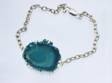 Blue Agate slab slice silver dipped unique bracelet