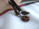 Brown Ribbon Bookmark with Leaf Charm