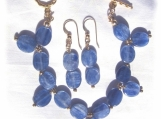 Gold-filled and Kyanite Bead Bracelet & earring set