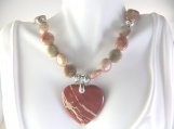 Red and tan beaded necklace