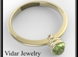 14k Yellow Gold Engagement Ring with Green Peridot