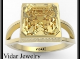 Beautiful Yellow Citrine 14k Yellow Gold Engagement Ring