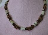 Brown Bead and Crystal Necklace
