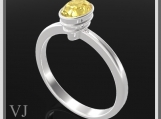 Classic Oval Yellow Citrine Sterling Silver Engagement Ring