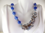 Royal blue beaded jazzy necklace