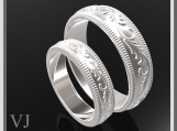 Unique His And Hers Sterling Silver Matching Wedding Bands Set
