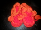 NCA children's  red & orange crochet shoes