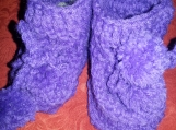 NCA purple crochet booties