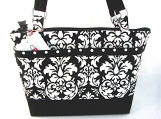 Cleo Handbag in Black and White Damask