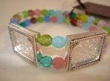 multi spring, 2 frame, picture frame bracelet -