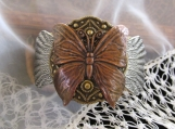 Bracelet , Copper Butterfly Cuff Bracelet-Mixed Metals