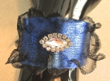 Bracelet, Electric Blue Leather and Black wire Mesh Bracelet