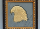 Eagle Head - Engraved Grey Slate Tile Plaque in Wood Frame