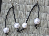 Earrings-Black leather  with Pearl accents
