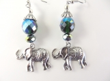 Green and silver elephant earrings