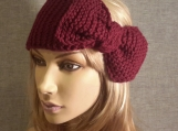 Knitted  Bow Headband. Ear warmer -Burgundy red