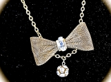 Necklace-Vintage Gold tone Bow necklace with Rhinestones