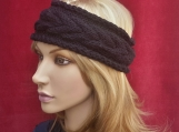 Women' s Cable Knitted Headband,  Ear warmer / Black
