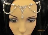 Silver White Pearl Triquetra Head Chain Hair Chain Headpiece