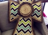 Brown, tan and green multi Chevron and Burlap Door Hanger