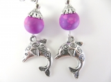 Fancy purple dolphin earrings