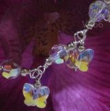 925 Sterling Silver Swarovski Crystal Charm Bracelet Butterfly
