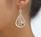 Sterling silver filigree earrings with black cat's eye stone