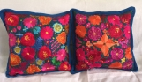 """1 pair (2 Blue pillow cover ) handwoven and embroidered. 19.5"""" x 19.5"""" (50cm x 50cm)"""
