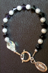Rosary Bracelet with Black Bicones and Pearls